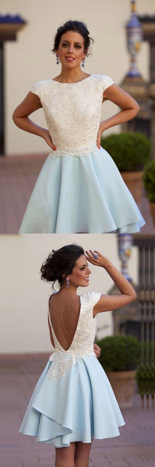 Customized easy prom dresses chiffon bateau kneelength light blue