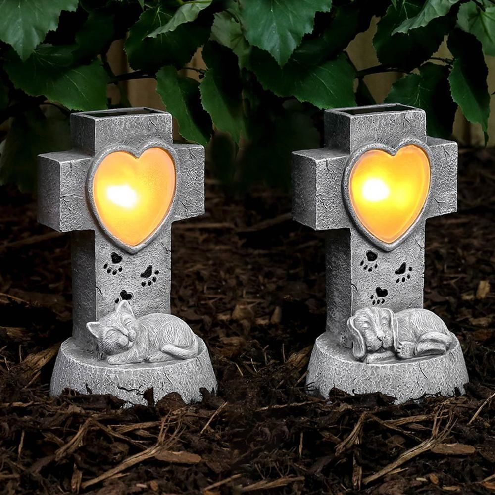 Solar Power Sleeping Pet Grave Memorial LED Light