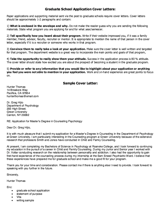 resume cover letter for graduate school