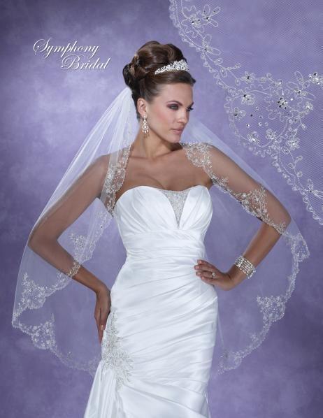 Enchanting Symphony Bridal 6131VL Fingertip Wedding Veil - Affordable Elegance Bridal -