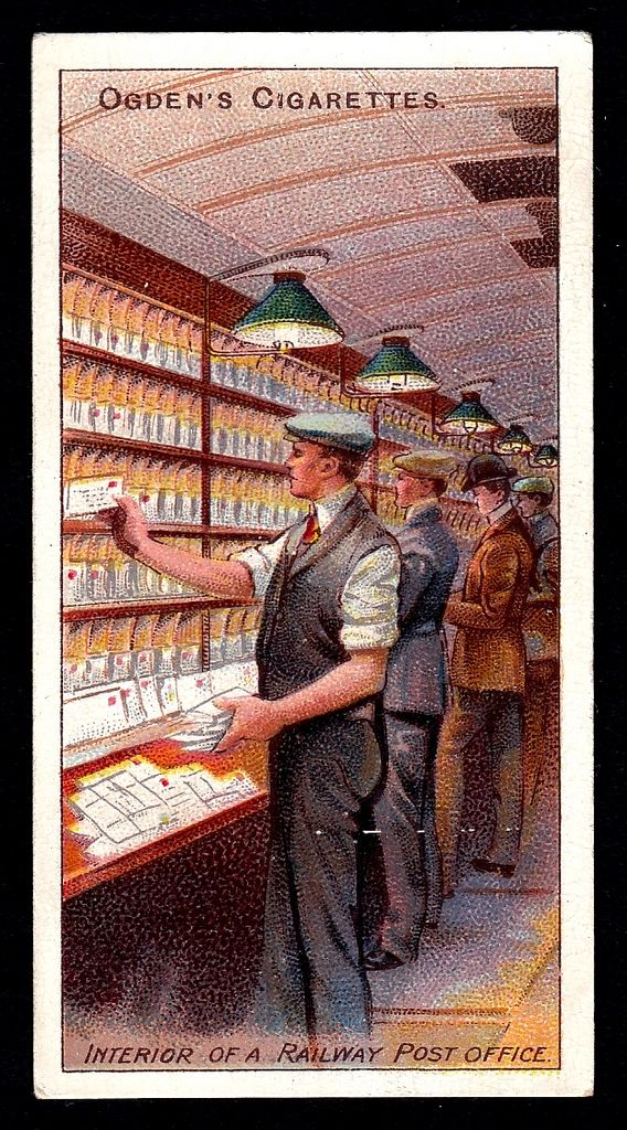 """Ogden's Cigarettes  """"Royal Mail"""" (series of 50 issued in 1909) #33 Interior of a railway Post Office"""