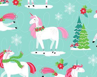 Christmas Unicorn Fabric I Believe In Christmas By Lizmytinger