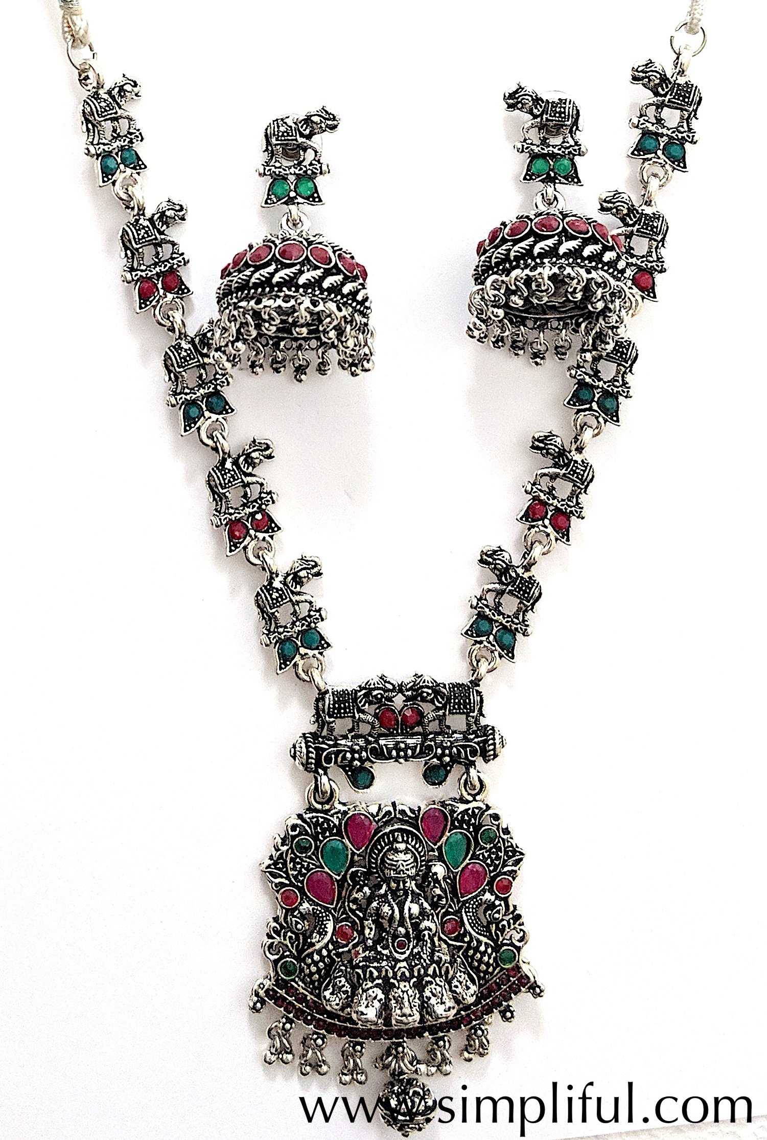 Oxidized goddess lakshmi pendant with elephant chain necklace and