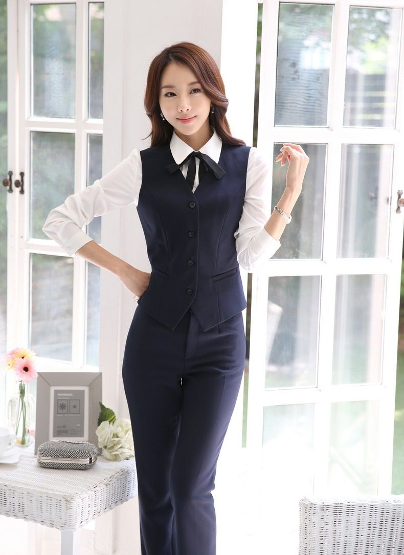 Formal Pantsuits Women Business Suits With Pant And Vest Waistcoat Tops Sets Ladies Office ...