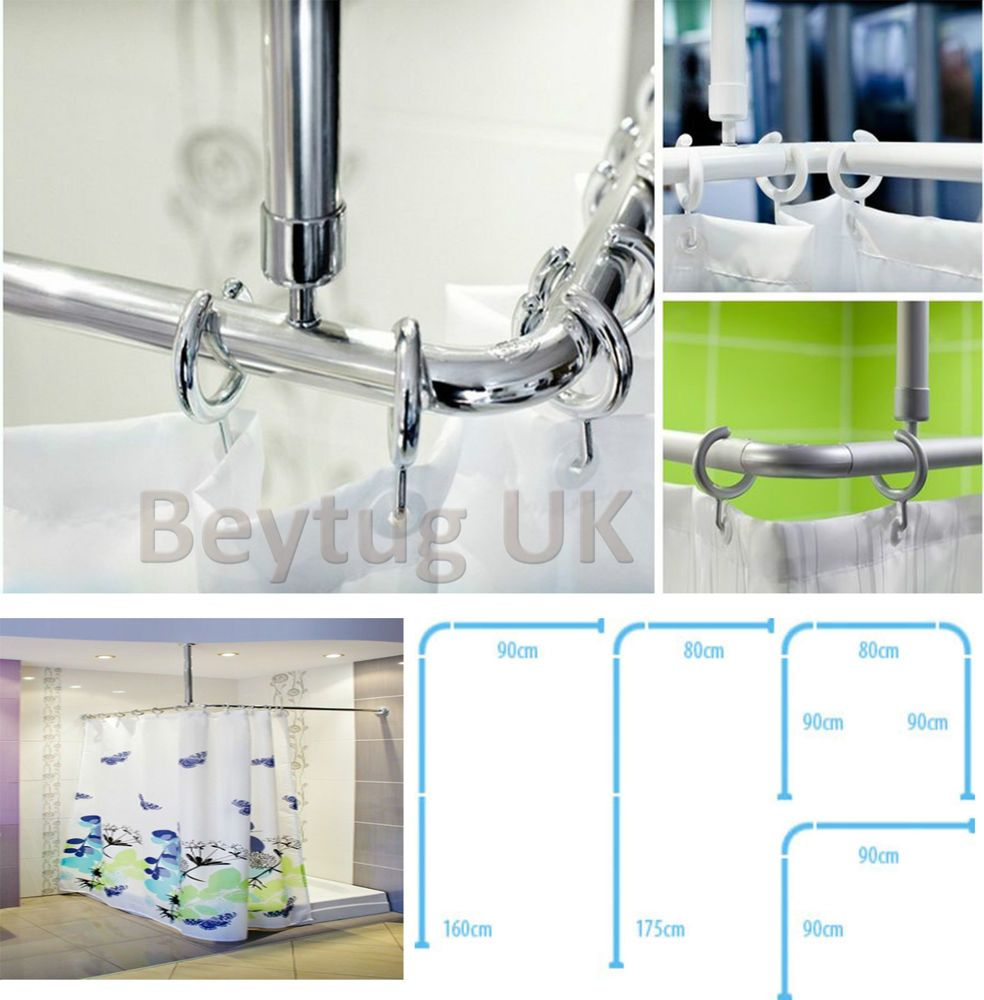 Shower Curtain Rail/Rod, 4 Way Use, L Or U Shape, Ceiling Mount ...