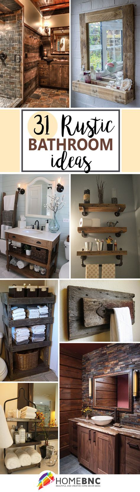 50 Gorgeous Rustic Bathroom Decor Ideas To Try At Home Rustic Bathrooms Rustic Bathroom Decor Bathroom Design Decor