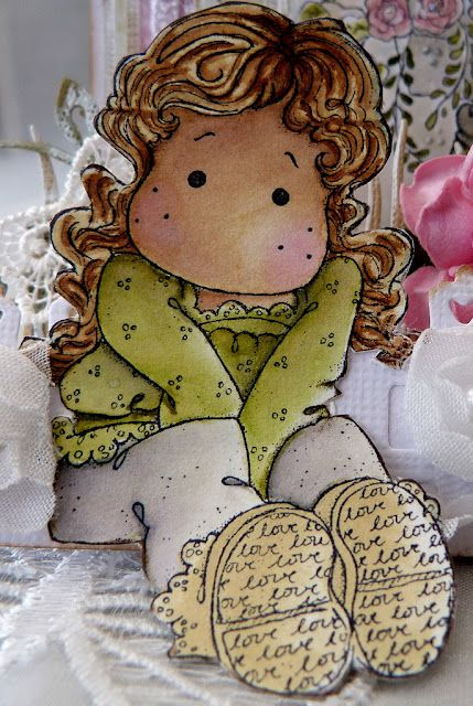 Tilda with lovely lace shoes, Sweet Crazy Love Collection 2012, Magnolia stamps