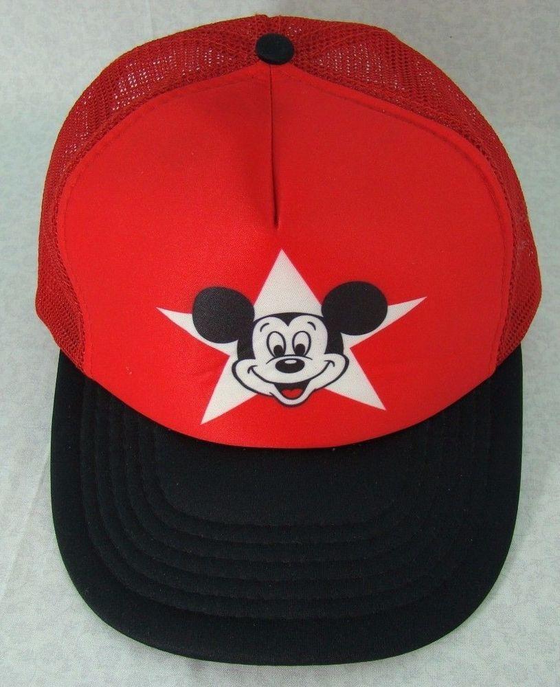 890aa79222b9fc Vintage Disney Mickey Mouse Snapback Baseball Cap Trucker Hat Red Adult  Size WDW