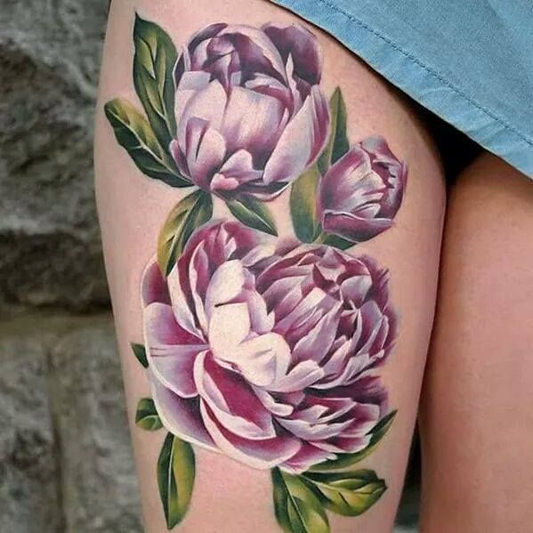 4f14cc4c4 the most gorgeous peony tattoo ever... love these colors so much ...