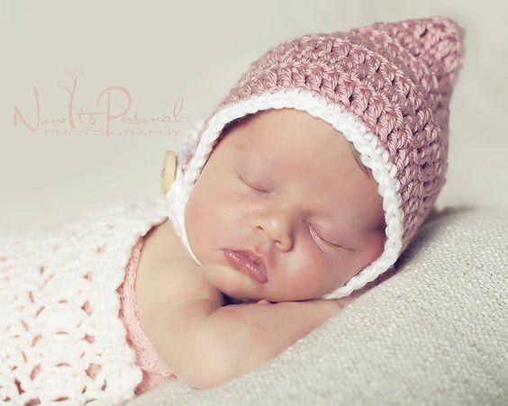 infant photo prop baby bonnet Pixie bonnet crochet bonnet infant bonnet