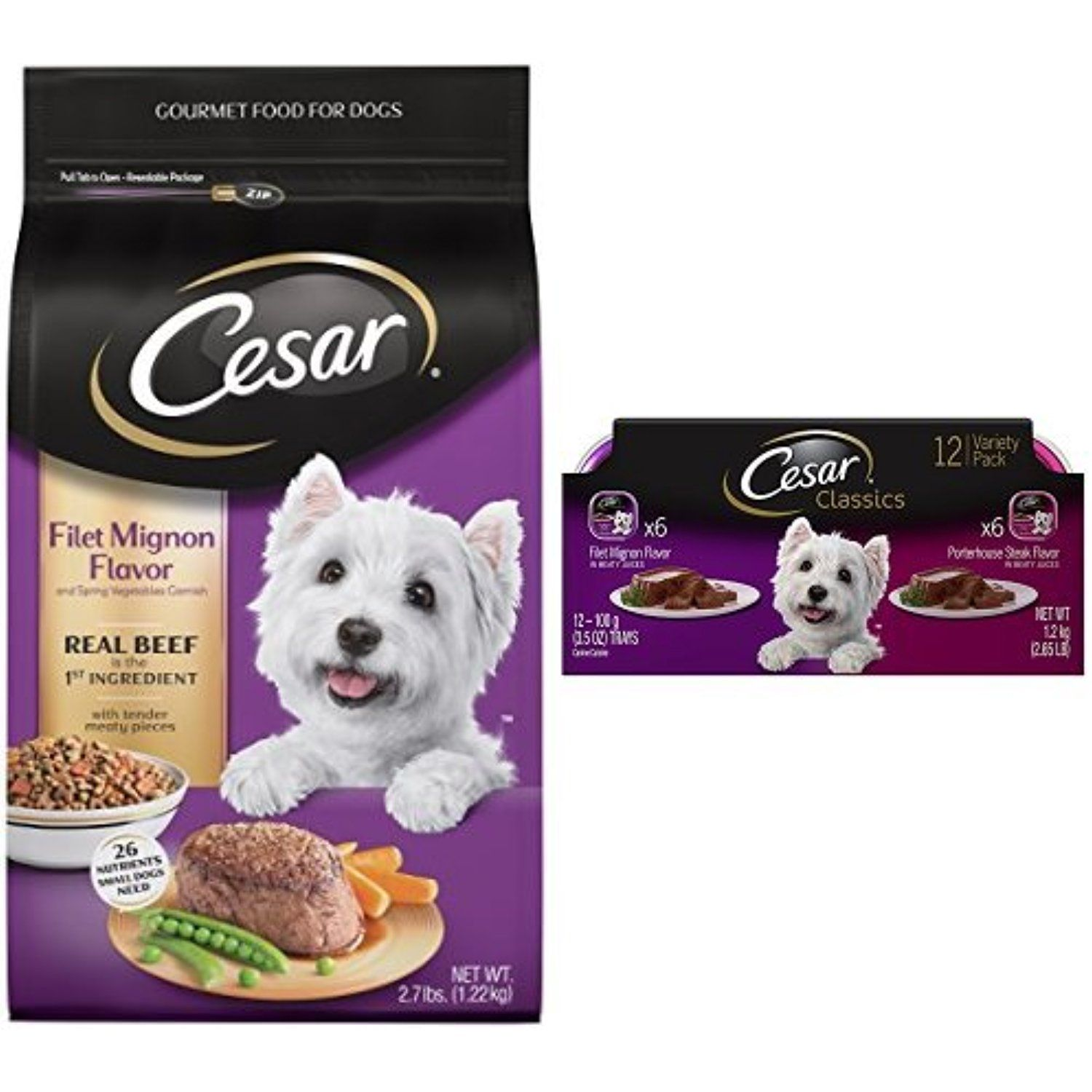 Cesar Small Dog Food Variety Pack With 2 7 Lb Bag Of Filet Mignon