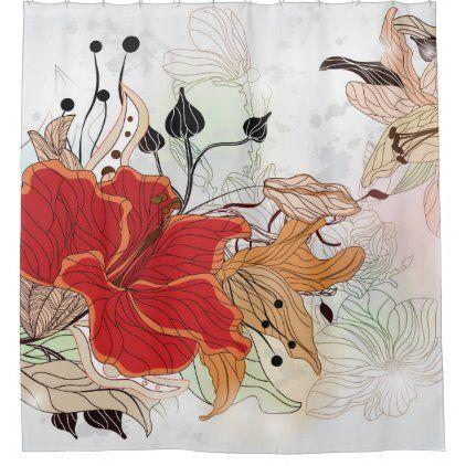 Shower curtain - Red flower   Zazzle.com