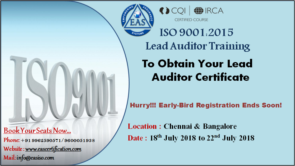 Enhance your career by undergoing CQI|IRCA ISO 9001 lead