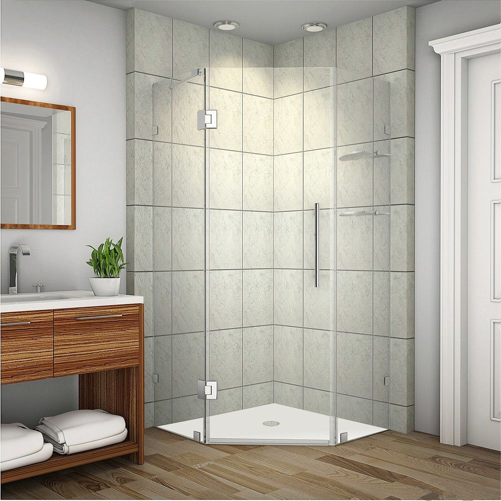 Neoscape Gs Completely Frameless Neo Angle Shower Enclosure With Shelves