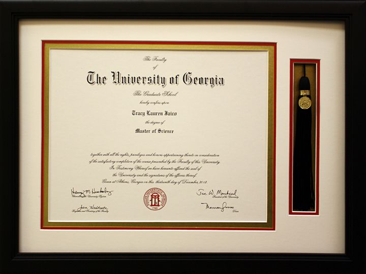 The University of Georgia diploma framed with tassel. Designed and ...