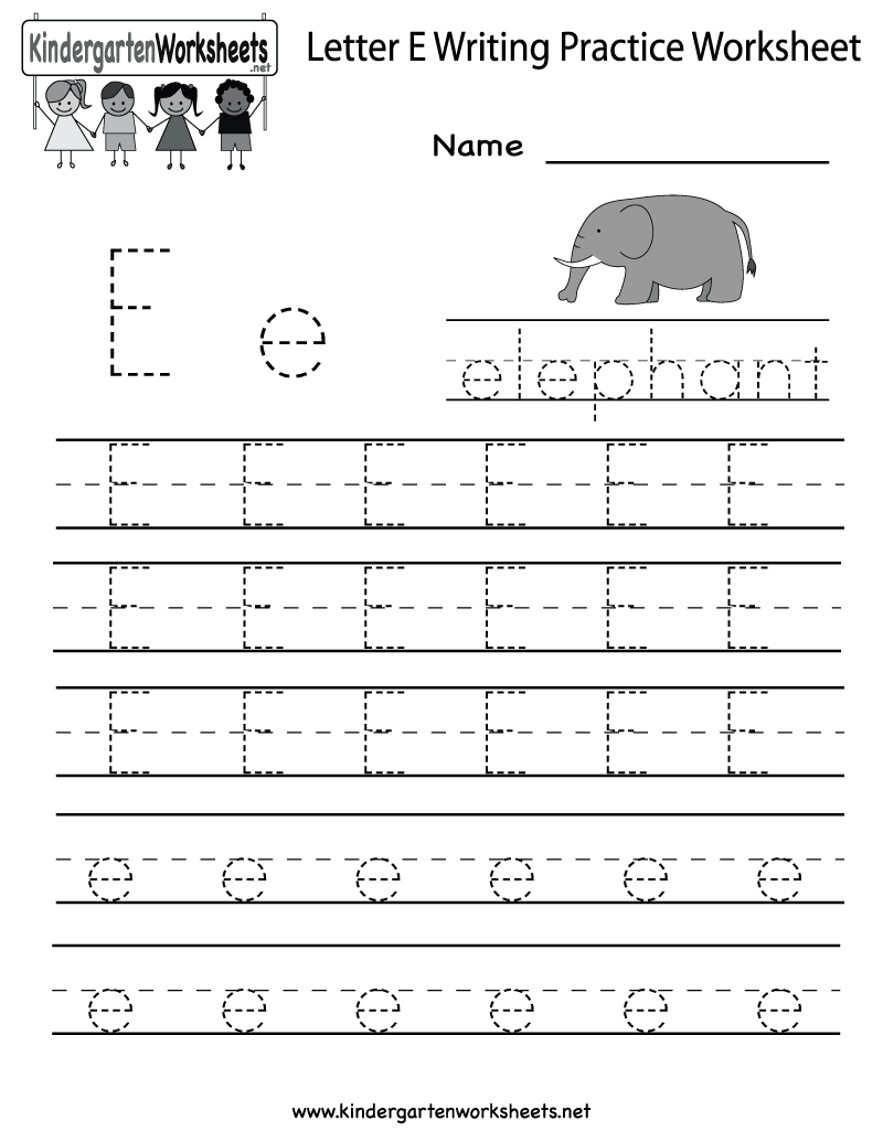 Kindergarten Letter E Writing Practice Worksheet Printable