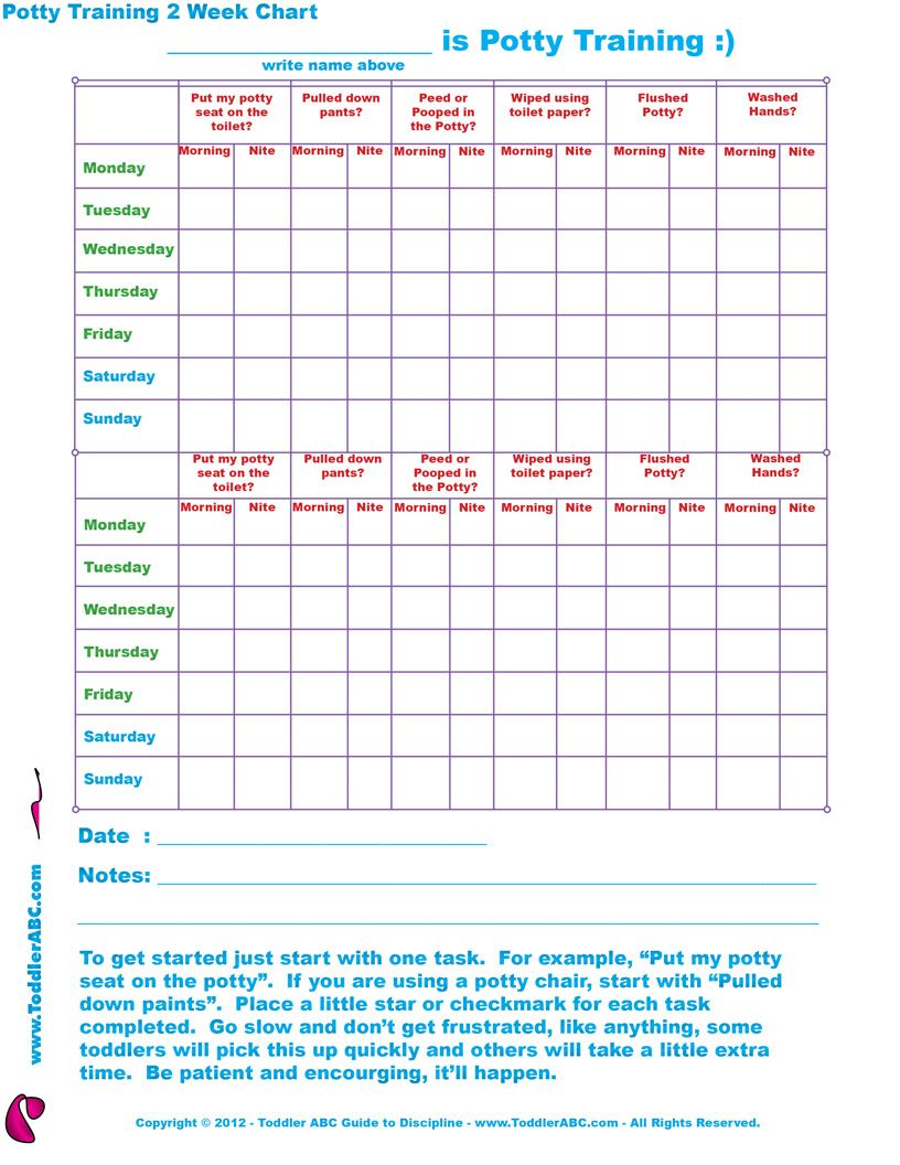 free toilet training chart