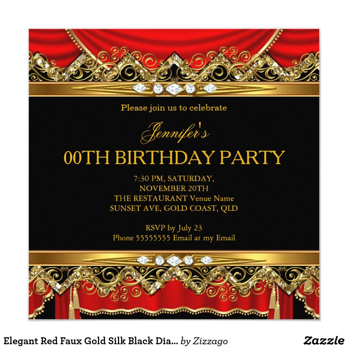 Elegant Red Faux Gold Silk Black Diamond Invite   Zazzle.com   Diamond  invitations, Girl birthday party invitations, Elegant invitations