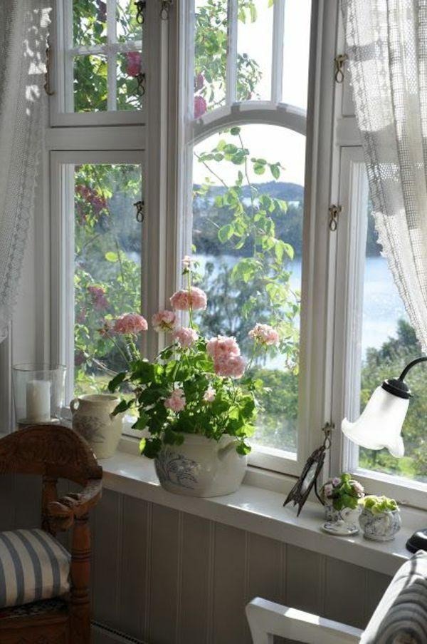 fensterbank deko blumentöpfe kombinieren gardinen | haus ideen ... - Deko Fensterbank Wohnzimmer