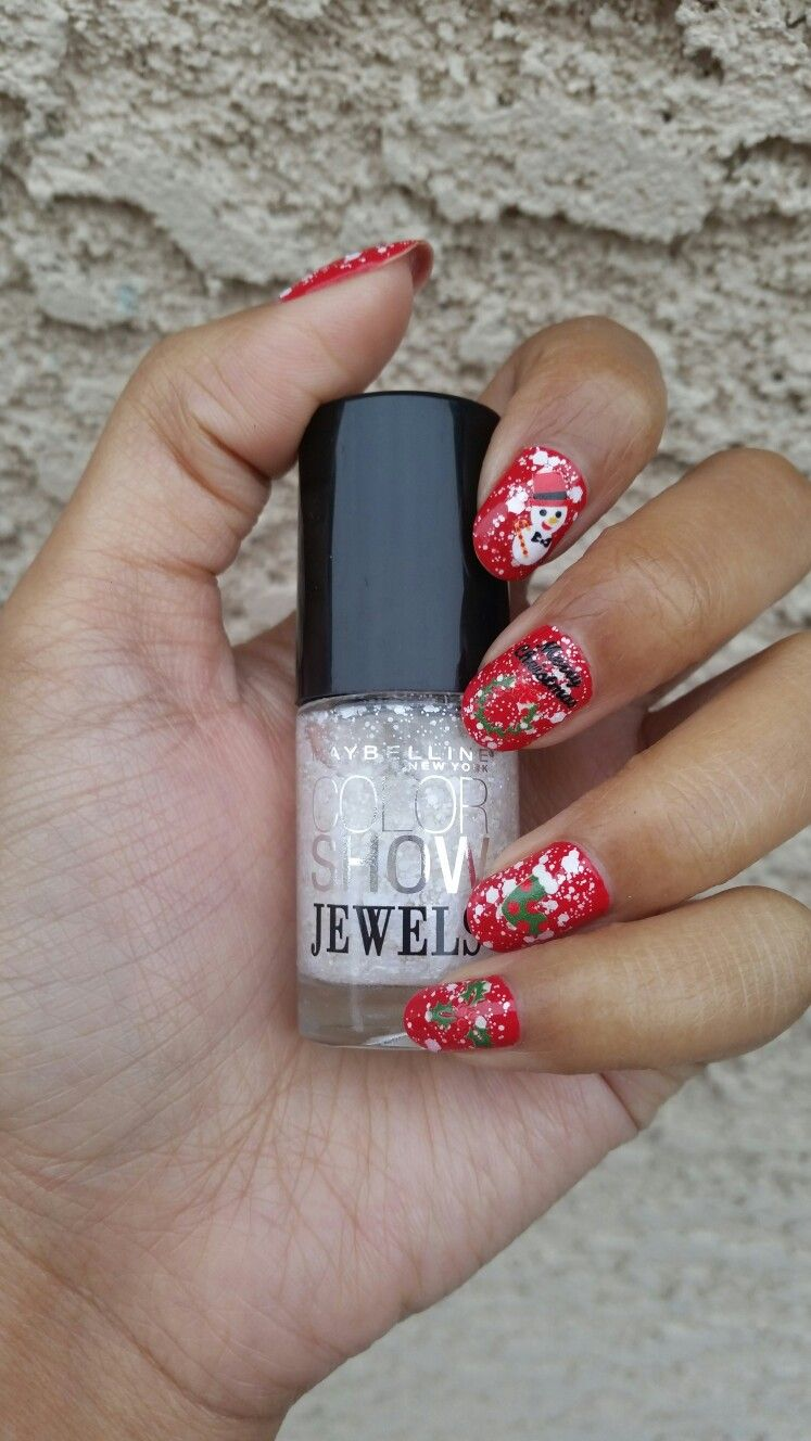 Opi Coca Cola Red and Maybelline Precious Pearl with Daiso nail ...