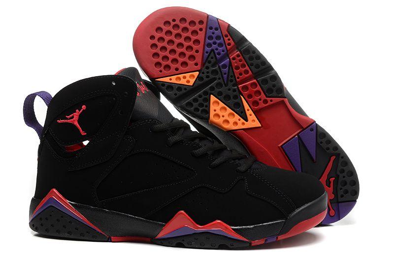 Air Jordan 7 Rétro Noir Et Rouge Pour Les Filles