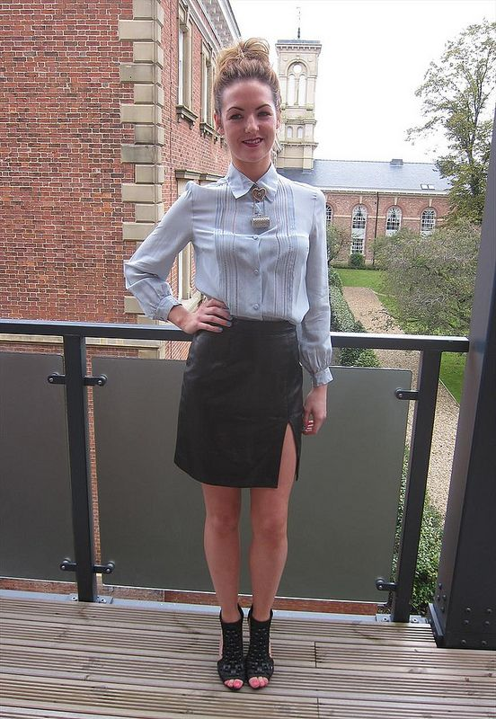 Grey silk button up blouse & leather skirt | strict and sexy ...