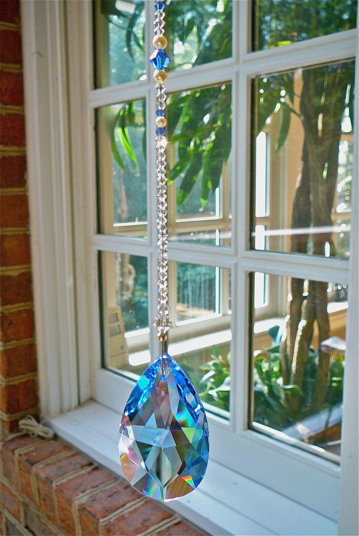 Blue Swarovski Crystal Suncatcher Prism Rainbow Crystal Etsy Crystal Suncatchers Suncatchers Hanging Crystals