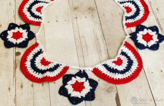 Star Spangled Banner Crochet Bunting | Guirnaldas, Colores ...