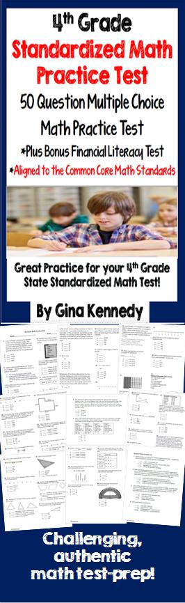 4th Grade Math Practice Test Plus A Bonus Financial Literacy Test
