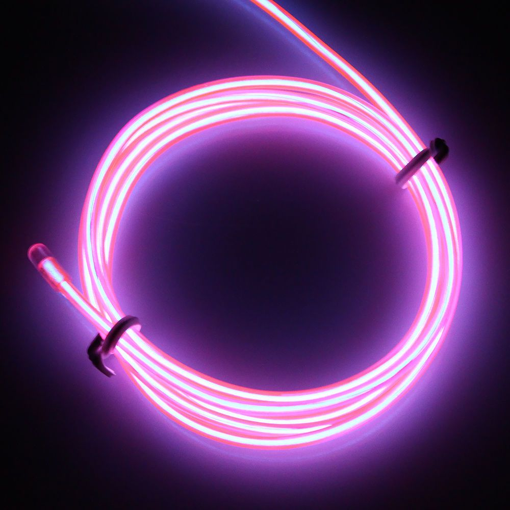 El Wire Pink Neon Glowing Strobing 9ft with 4 Modes Battery Operated ...