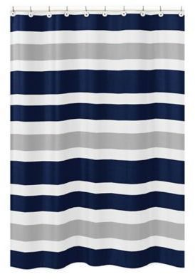 Sweet Jojo Designs Navy And Grey Stripe Shower Curtain Kids