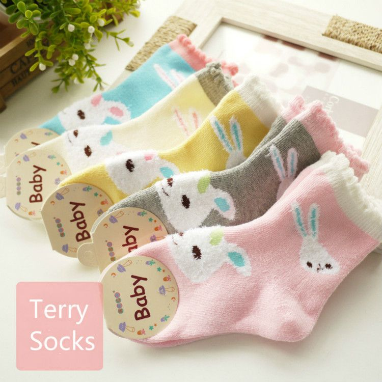 BUNNIEE 5-Pack Baby Girl Dress Socks High Cotton Socks Handmade For Kids Gift Boutique