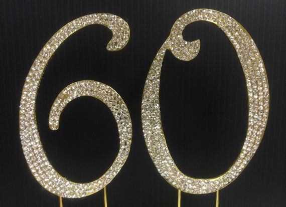 Gold  Rhinestone NUMBER (60) Cake Topper 60th  Birthday Parties FREE SHIPPING #20thanniversarywedding
