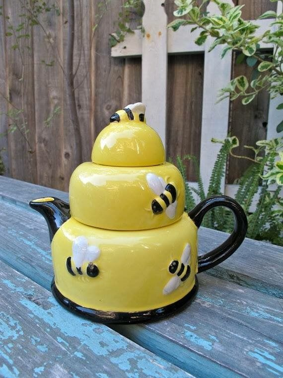 Vintage Honey Pot Teapot In Shape Of Yellow Beehive With Flying Bees Relief On The Body And Serving As Knob Black Handle Spout Ceramic