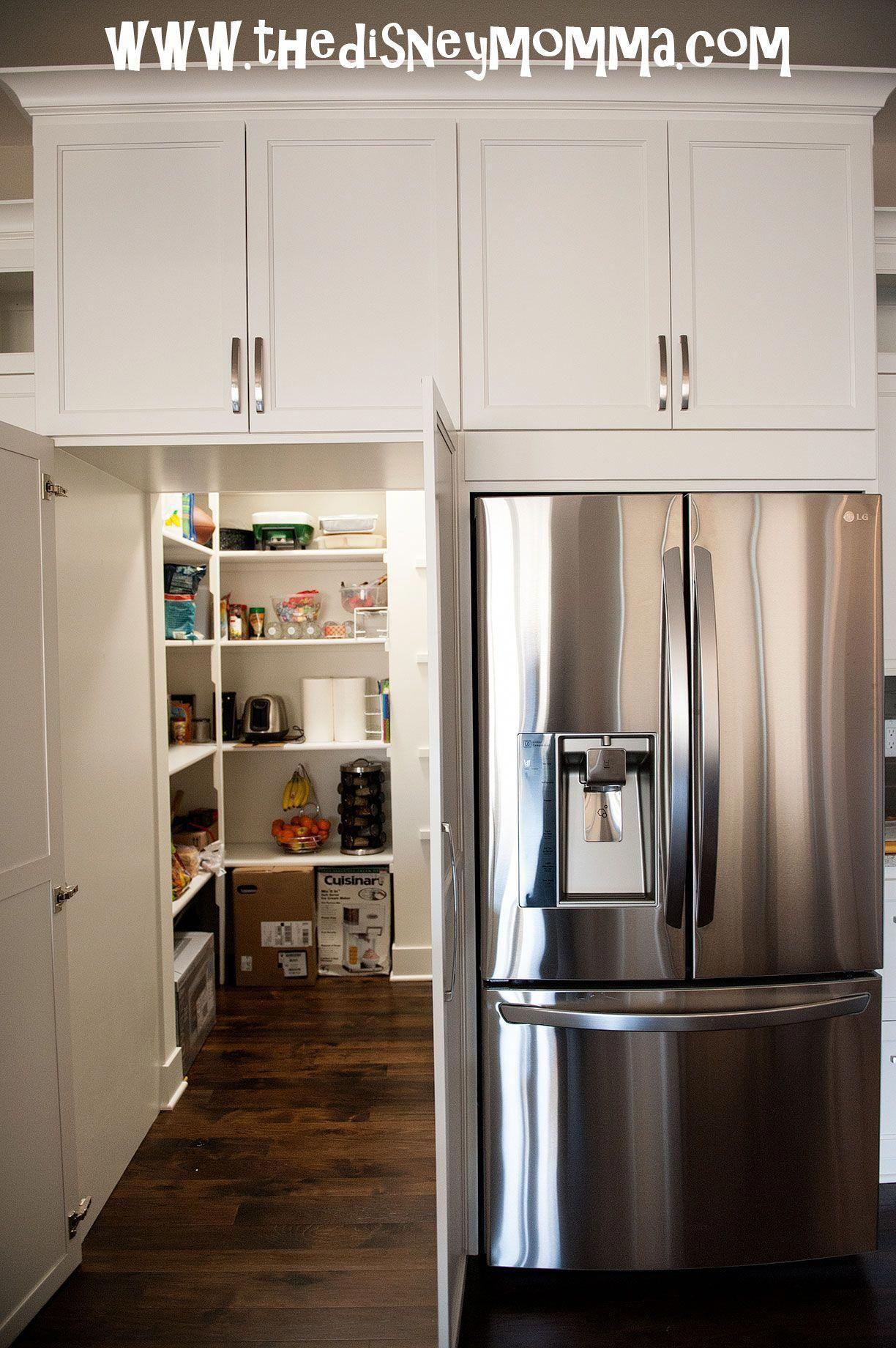 White Kitchen Cabinets Lg French Door Refrigerator With Hidden Walk In Pantry K Cabine Kitchen Pantry Design Kitchen Cabinet Design Hidden Kitchen