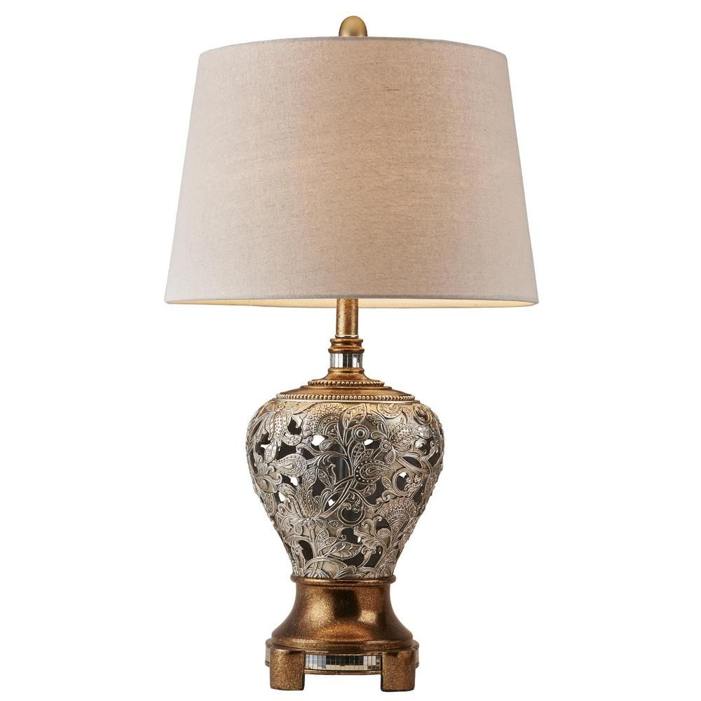 Ore International Langi 25 In Silver Brown Table Lamp K 4291t The Home Depot Table Lamp Lamp Table Lamps Living Room