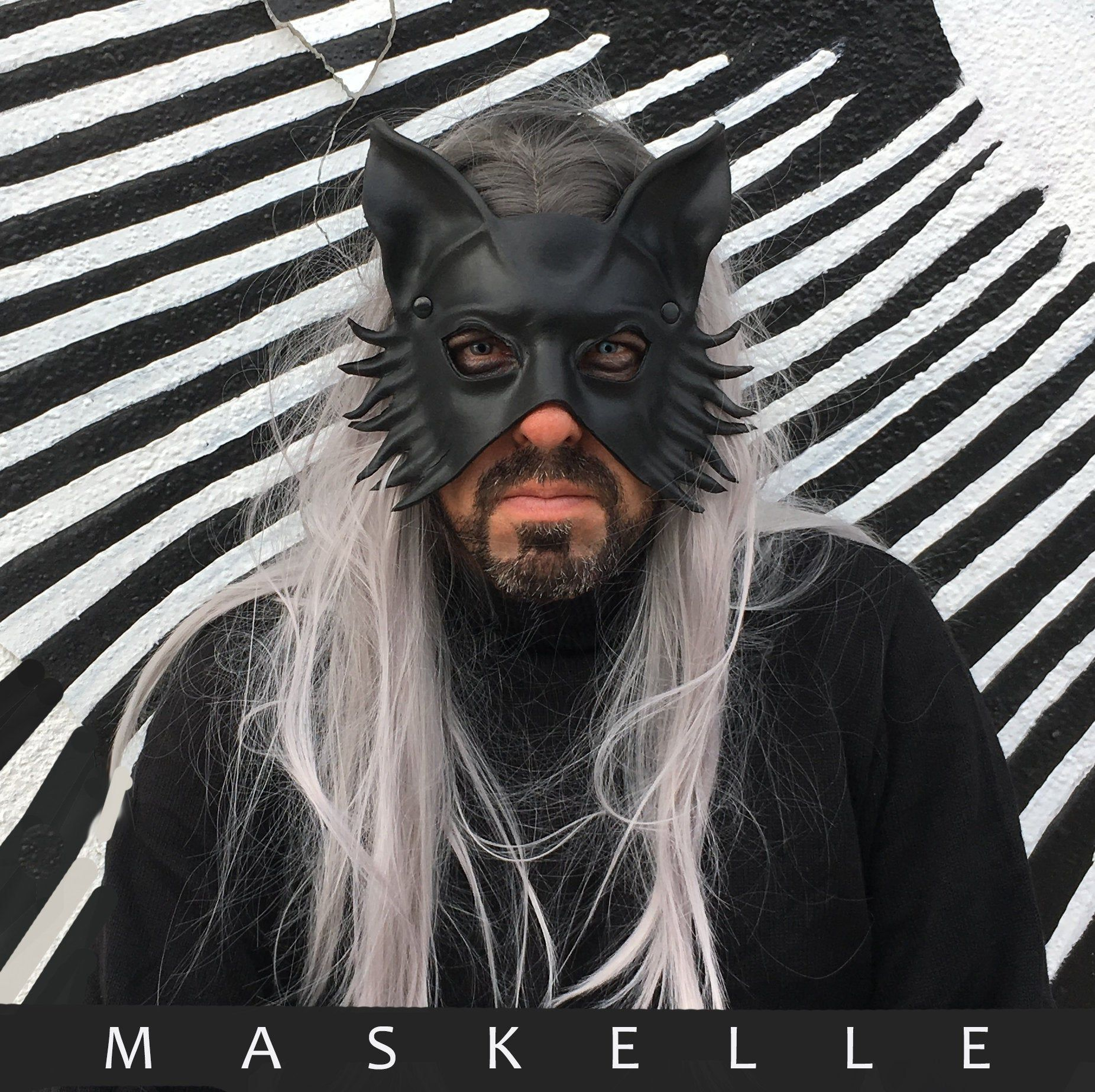 Black Goat Mask by Maskelle Masks flexible comfy Halloween costume adult scary