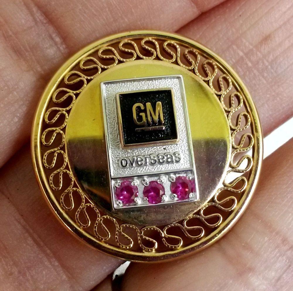 Vtg Gm General Motors Overseas Ruby Service Award Pin Gold And Gf Service Awards Gold Ruby