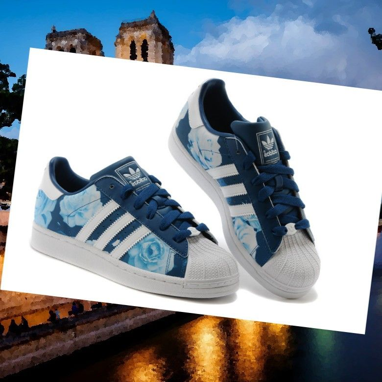 adidas originals baskets superstar 2 femme blanc/bleu marine