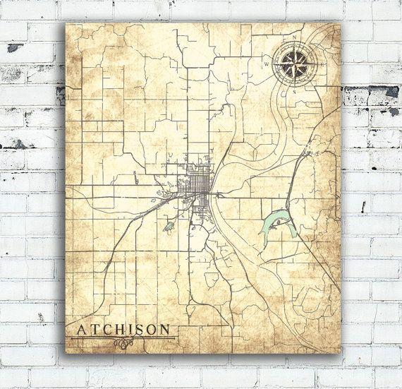 ATCHISON KS Canvas Print Kansas Vintage map Town Plan City Vintage ...