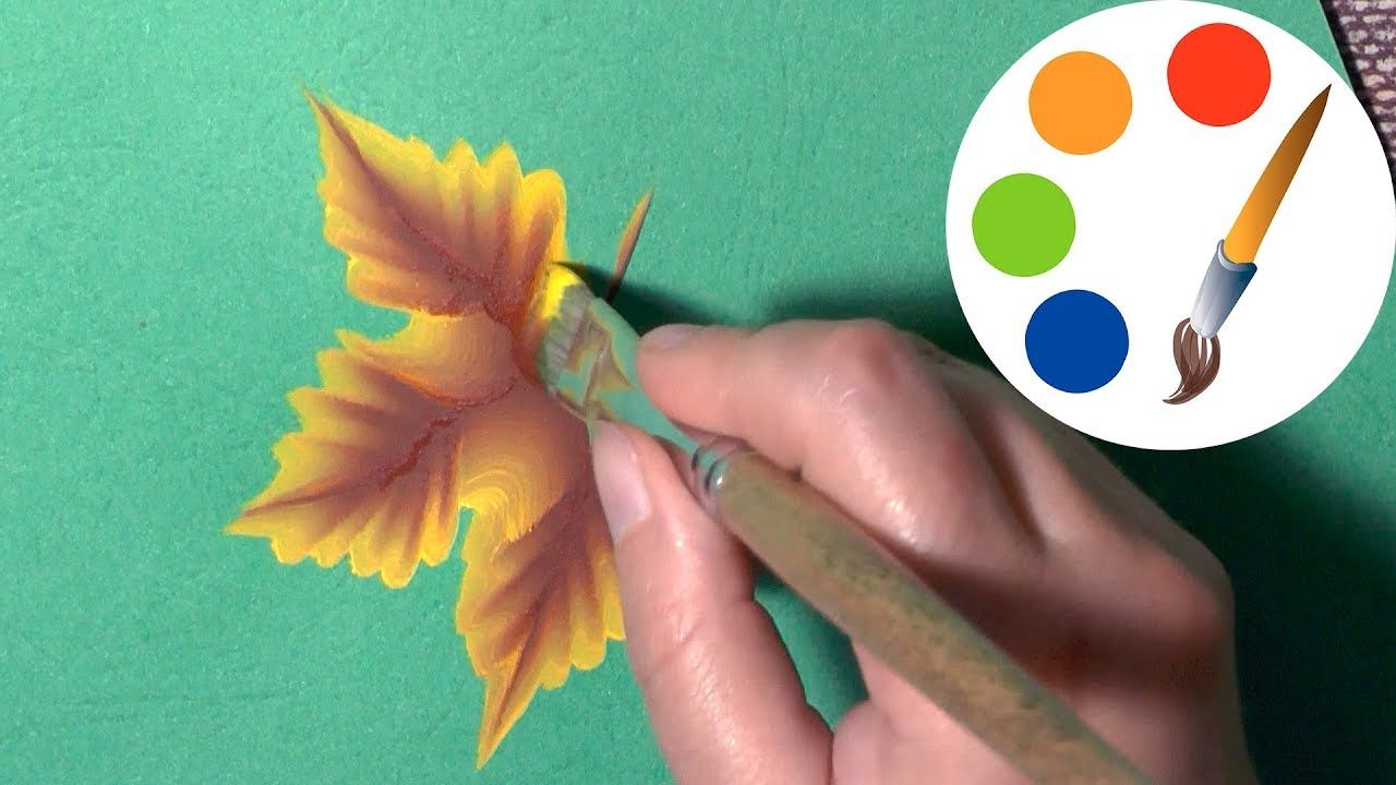 One Stroke for beginners, How to paint leaves, irishkalia