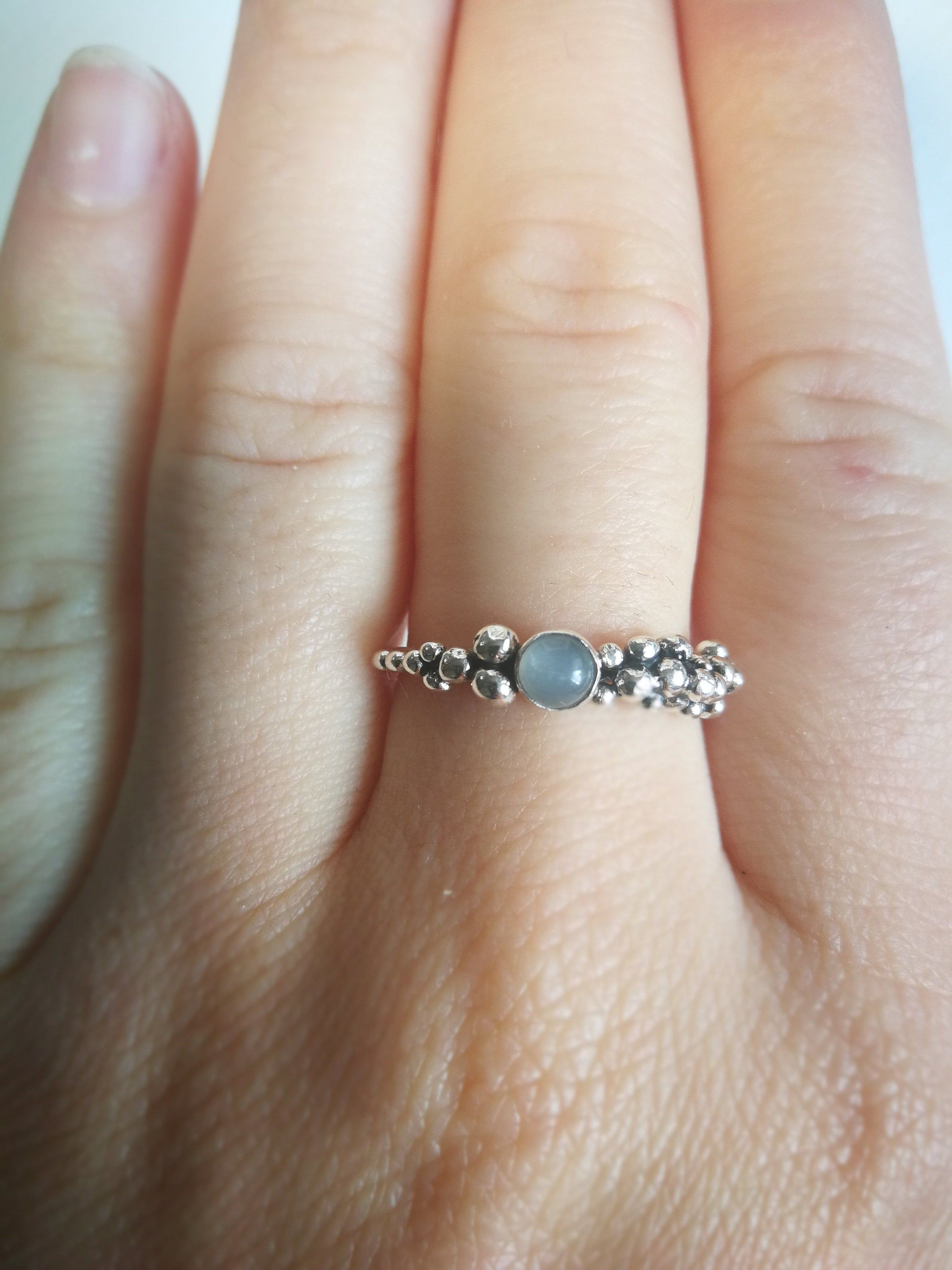 White topaz wedding ring Engagement ring with Topaz gemstone Silver engagement ring with a unique design Granulation and melted texture