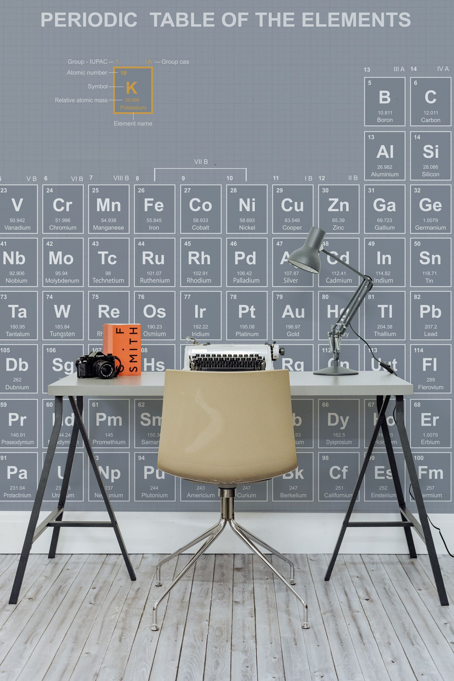 make learning fun with this period table wallpaper mural in a slate grey and sleek design this wallpaper is a smart choice for home office spaces