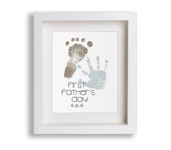 Fuß Erste Vatertag Kunstdruck Personalisierte Hand Von