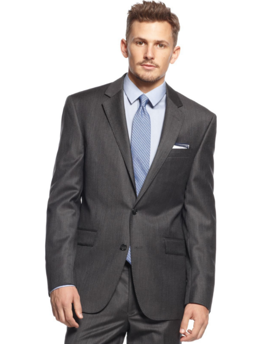 Kenneth Cole New York Charcoal Texture Slim-Fit Suit