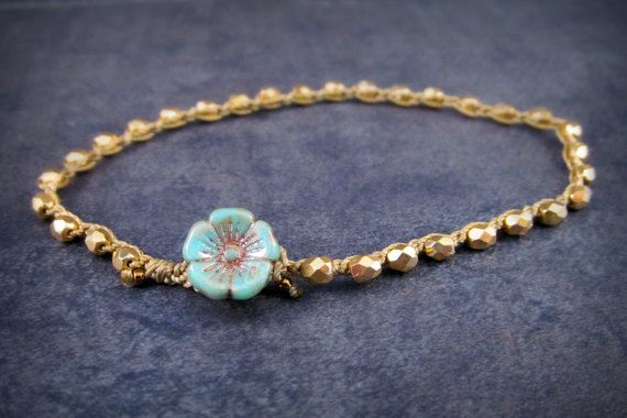 Surfer girl anklet golden beads with turquoise flower by GlowCreek