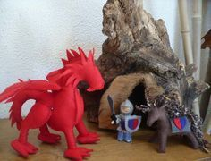 Felt dragon w/ knight & horse (Enchanted Tree) #feltdragon Felt dragon w/ knight & horse (Enchanted Tree) #feltdragon