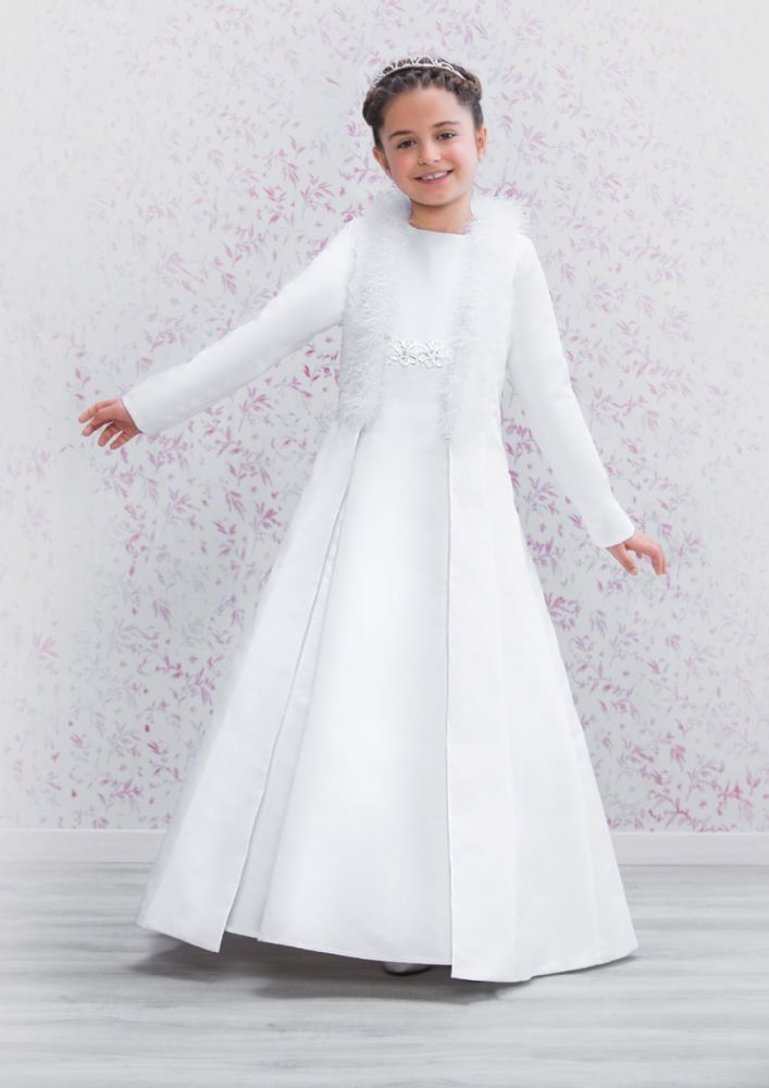 e6bbf2f3723 Beautiful Emmerling First Communion Coat - 70181 - Satin Long sleeve Cloak  with soft luxurious Marabou Feathers - Girls Communion coat Shop Ascot