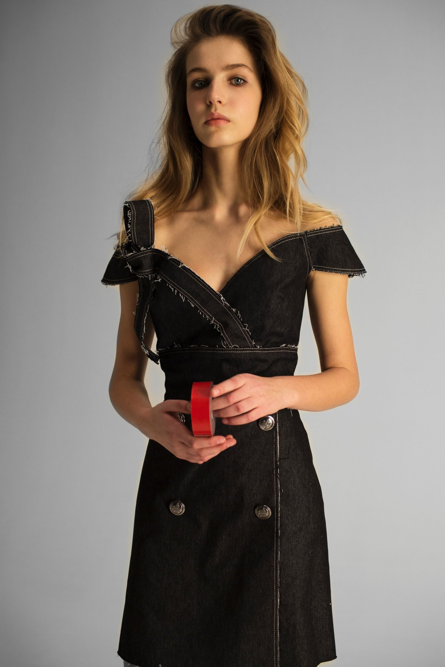 Off the Shoulder Denim dress by Klamanovich Moda