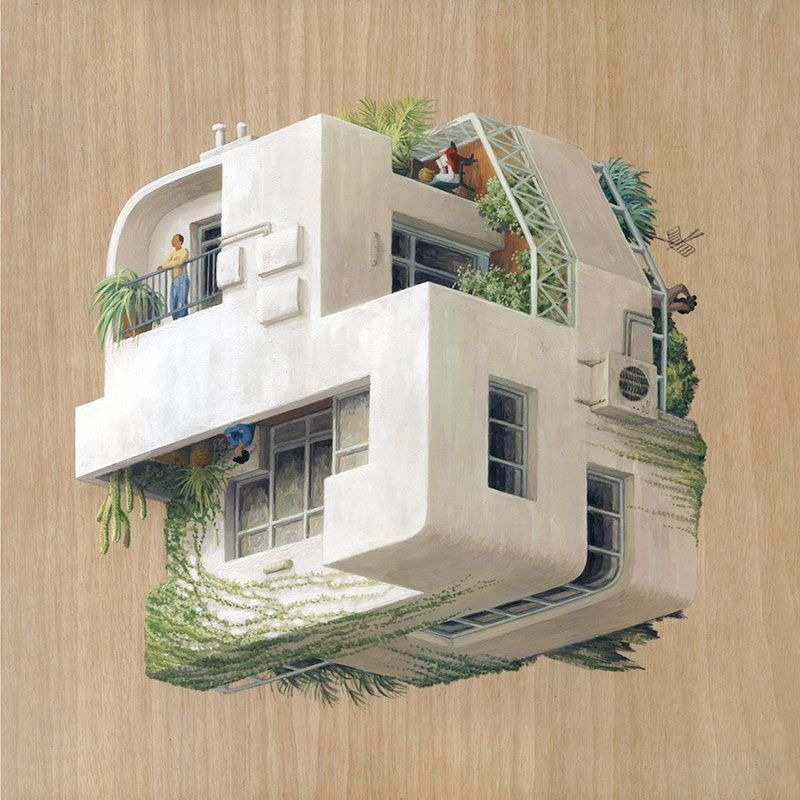 Cinta vidal paintings by barcelona based artist cinta vidal agulló combining multiple perspectives that defy gravity enabling the works to be rotated so the